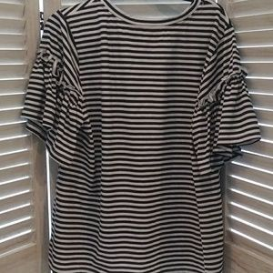 Very J Fancy Tee Shirt Black&White Striped Size 2X